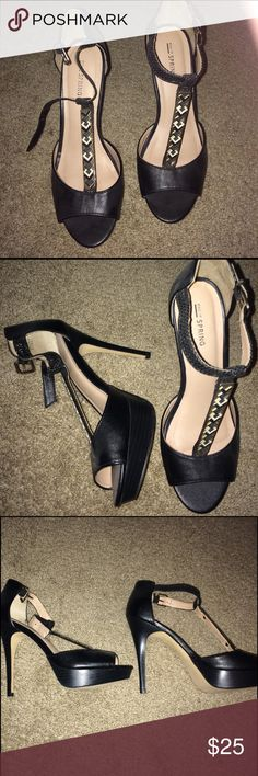Black Heels Black, light cream pink colored on the inside, Jewel on the front Call It Spring Shoes Heels