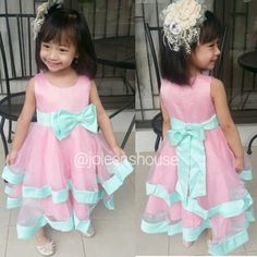 Kids Party Dress Pink Tosca Ribbon / Baju Pesta Anak
