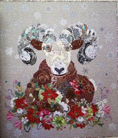 MarveLes PATTERN IZAAK COLLAGE Christmas Style Rocky Mountain Blooming Bighorn Sheep Flower Montana Glacier Park