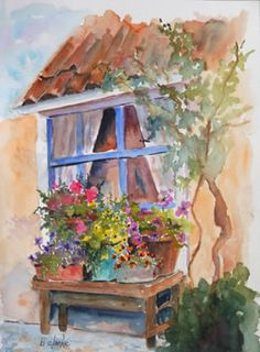 watercolor painting of flowers in the window