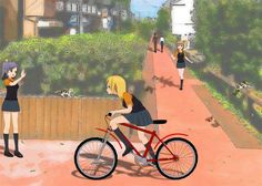 ComiPo - Friends meet after School  |  comipo, anime, manga, cartoon, schoolgirls, bike, bicycle, friends, fun, enjoy, summer, warm, houses, street, plants, trees, nature, animegirls, cute, color, animals, birds, cats, neighbourhood, buildings