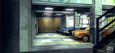 Environment interior - Garage  Cinema set Codice Privato by Silva Giovanni
