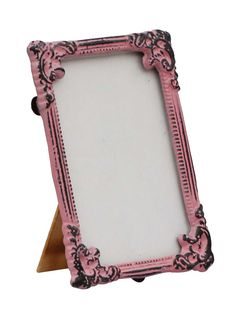 Bulk Wholesale Handmade Pink Rectangular Photo Frame / Stand in Metal Work with Distressed-Look – Beautiful Carvings on the Edges – Table / Wall Décor – Rustic-Look Home / Office Décor