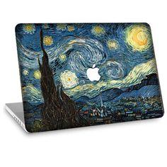 Apple Macbook Air Decal Skin w/ Apple Cutout - Van Gogh Starry Night… Apple Macbook Pro, Macbook Pro Retina, Calcomanía Macbook, Macbook Air 11, Apple Mac Book, Mac Laptop, Ipad Air, Van Gogh, Moma