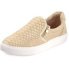 J Slides Zipster Snake-Embossed Slip-On Sneaker ($76) ❤ liked on Polyvore featuring shoes, sneakers, beige, zipper sneakers, low heel platform shoes, beige shoes, platform trainers and pull-on sneakers