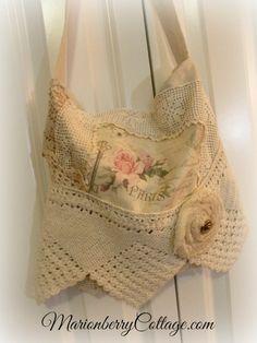 Vintage Boho Gypsy crochet et dentelle sac à main postale française