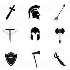 Ancient weapon icon set. 免版稅 向量圖形檔