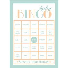 Entertain your guests with this classic baby shower game, Baby Bingo, where you block off baby items (such as a diaper bag, pacifier, stroller, etc) from your card as the mama-to-be opens her gifts. F