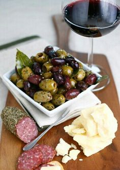 Olives, cheese and wine