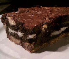 Yummy #Slutty_Brownies. Made from brownie mix, Oreo cookies, and cookie dough. Ingredients can be store-bought for convenience. Click For Instructions