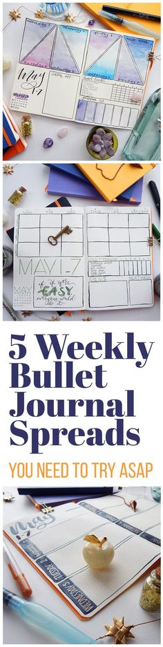 Creative Organization: Bujo Weeklies with Style. Weekly bullet journal spreads can be extremely useful layouts. Here are 5 to get your creative juices flowing and your planner brain ticking! Bullet Journal Doodles, Bullet Journal Hacks, Bullet Journal Spread, Bullet Journal Layout, My Journal, Bullet Journal Watercolour, Bullet Journal Cleaning, Journal Notebook, Journal Inspiration