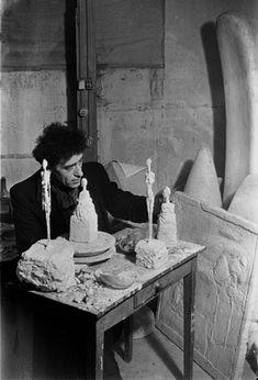 Émile Savitry - Alberto Giacometti in his studio Hippolyte Maindron street, Paris, 1946
