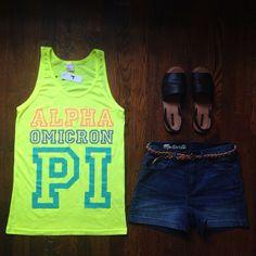 Alpha Omicron Pi Neon Tank by Adam Block Design | Custom Greek Apparel & Sorority Clothes | www.adamblockdesign.com
