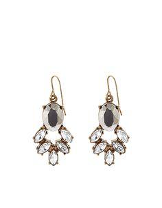 Lola Leaf Crystal Drop Earrings   Clear   Accessorize