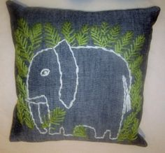 Crewel Elephant Pillow : New Pillow made from a vintage crewel