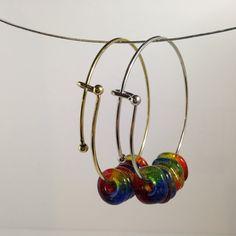 Rainbow Bangle, Stocking Stuffer Jewelry, Bangle, Pride Bracelet, ART Teacher Gift, Artist Gift, LGBT, Handmade, Fused Glass Rainbow Beads    #GayPrideJewelry #HandmadeJewelry #MeditationJewelry #CindiHardwicke #RainbowBeads #HandmadeGlassBeads #JewelryAndBeading #LgbtBracelet #Customizable #RainbowCoalition