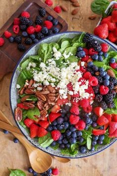 This Fruit & Nut Spinach Salad recipe is the perfect combination of fresh summer berries, feta cheese and toasted nuts. This is topped off with a delicious Balsamic dressing for the most amazing summer salad! Raspberry Salad, Blueberry Salad, Dressing For Fruit Salad, Salad Dressing Recipes, Bacon Dressing, Salad With Fruit, Fruit Salads, Salad Dressings, Fresh Fruit