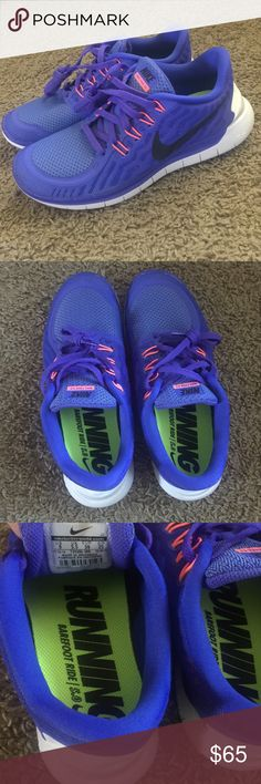 Nike Free 5.0 women's training shoes! Size 8 women This is a pair of Nike Free 5.0 training shoe. Women's size 8 Persian Violet/Fushia Glow/Black. These has been gently worn as seen in pics but in amazing condition! Nike Shoes Athletic Shoes