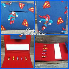 """#Superman Crayon Wallet  #unplugged entertainment for the little artist on the go. The perfect #travel companion. Easy to carry handles, secure velcro closure, and an extra pocket for sticker sheets or finished art.  Measures approximately 10""""×7"""" folded and 10""""×14"""" opened. 10 crayons and 6×9 scratch pad included. $14 plus shipping  #crayoncase #artorganizer #artfoilio #crayonorganizer #crayonwallet #crayonfolio #handmade #ilovehandmade #kidstravel #coloring #coloringtoy #kidstoy #kidsgifts…"""