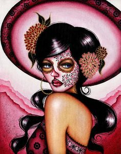 The Pink Sombrero by Cat Ashworth Mexican Sugar Skull Canvas Art Print – moodswingsonthenet