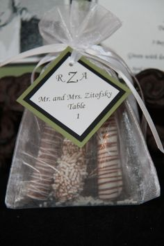 pretzels with personalized tags
