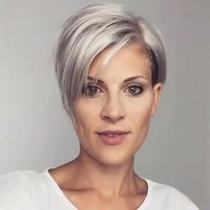 Just a little Spin Pixie Hairstyle 360 Pixie Haircut For Thick Hair, Longer Pixie Haircut, Short Hair Undercut, Pixie Cut With Undercut, Undercut Pixie Haircut, Nape Undercut, Short Grey Hair, Short Thin Hair, Short Hairstyles For Women