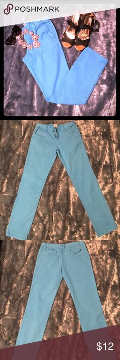 """Teal straight leg ankle pants Cute cotton teal ankle pants with pockets. Somewhat faded. 12 1/2"""" waist (laying flat) and 30"""" inseam. In good, pre-loved condition. I have the same pair for sale in orange as well. Mossimo Supply Co. Pants Straight Leg"""