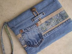 Upcycled denim clutch wristlet made from by HarvestHomeStudio: denim, linen and batik in beautiful blues, natural and a touch of green