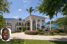 The Shaquille O'Neal Florida Mansion for sale has 12 bedrooms and 15 bathrooms. His awesome pool is called Shaq-apulco and is a staggering 95 feet long. See the show car garage too. Shaq's massive mansion is a waterfront property on Lake Butler. Bed Bath & Beyond, Celebrity Memes, Celebrity Houses, Celebrity Mansions, Celebrity Portraits, Celebrity Outfits, Celebrity Wedding Dresses, Celebrity Weddings, Florida Mansion
