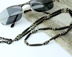 Black Buffalo Horn Glasses Chain with Tibetan Silver, Tribal Boho Sunglasses Holder Chain, Horn Beaded Eyeglass Chain, Rustic Sunglass Leash Leather Lanyard, Leather Key, Braided Leather, Gifts For My Girlfriend, Eyeglass Holder, Chains For Men, Black Stainless Steel, Black Silver, Unique Jewelry