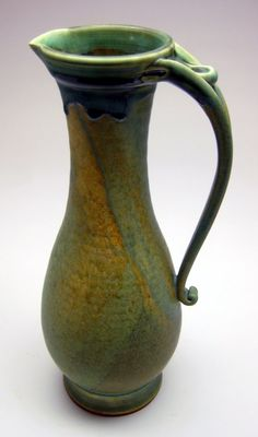 Pitcher Tarnished Copper Glaze by pedersonpottery on Etsy Ceramic Pitcher, Ceramic Clay, Pottery Vase, Ceramic Pottery, Pottery Designs, Pottery Ideas, Pottery Techniques, Terracota, Ceramics Projects