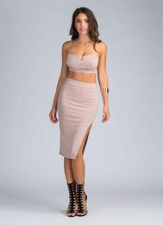 Simply The Best Crop Top And Skirt Set MOCHA BLACK - GoJane.com