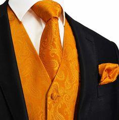 Orange XS to 6XL Paisley Tuxedo Suit Dress Vest by Q2ties on Etsy