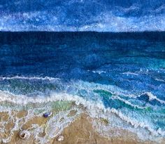 Wet felted seascape using merino wool fibres, silks, cotton scrim and embellished with shells from a Cornish beach xx Felt Pictures, Fabric Pictures, Wet Felting Projects, Felting Tutorials, Needle Felted, Nuno Felting, Felt Wall Hanging, Wool Applique Patterns, Felt Embroidery
