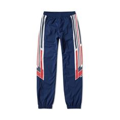 Adidas x Palace Shell Track Pant (Night Indigo & White) ❤ liked on Polyvore featuring activewear, activewear pants, adidas activewear, adidas, adidas sportswear and track pants
