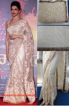 Deepika Padukone in Cream Net With Full Embroidery Bollywood Saree - IG9195 USD $ 85.56 Bollywood Sarees Online, Deepika Padukone, Embroidery, Cream, Design, Fashion, Creme Caramel, Moda, Fashion Styles