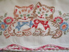 embroidered cat pillowcases