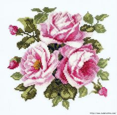 Cross Stitch Bird, Cross Stitch Flowers, Counted Cross Stitch Patterns, Embroidered Roses, Rose Embroidery, Best Roses, Rose Bouquet, Flower Patterns, Pink Roses