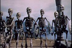 """Harry Hausen's stop-motion skeletons from """"Jason and the Argonauts"""" (1963)."""
