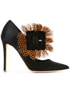 Rupert Sanderson feather detail pumps, on sale here: Black Leather Shoes, Metallic Leather, Leather Pumps, Black Shoes, Real Leather, Satin Shoes, Satin Pumps, Stilettos, Heels