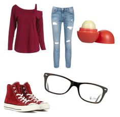 """""""Fall outfit"""" by cbazemore2004 on Polyvore featuring Current/Elliott, Converse, Eos and Ray-Ban"""