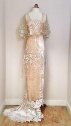 Joanne Fleming Design; embellished tulle and silk velvet Edwardian inspired wedding dress, 'Gabrielle Ray'