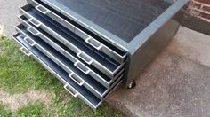 Brushed Steel Flat File Coffee Table w Glass Top