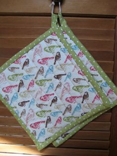 Quilted Bird and Flag Potholders