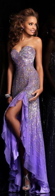 Sherri Hill couture purple sparkling dress