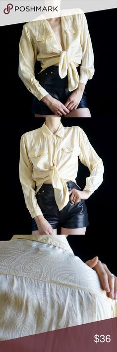 5177e1a649e946 ... yellow cream silk button down collared blouse with subtle paisley  pattern. Fits like a modern size modeled on a Fits anywhere between Vintage  Tops ...