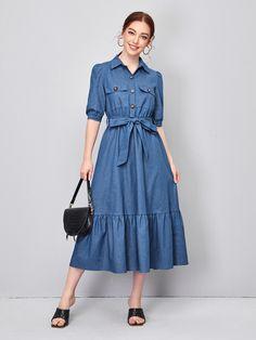 Stylish Dresses, Cute Dresses, Casual Dresses, Short Dresses, Belted Dress, Dress Skirt, Womens Denim Dress, Long Denim Dress, Modest Church Outfits