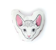 Sphynx cat head mini pillow with pink back by zyzanna on Etsy