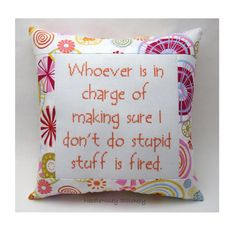 Funny Cross Stitch Pillow, Pink And Orange Pillow, Stupidity Quote, Common Sense
