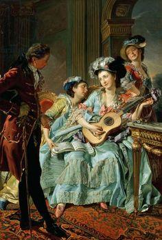 Masterpiece of Art: Louis de Trinquesse - After the Soirée, 1774 Music Painting, Art Music, Music Guitar, Old Paintings, Beautiful Paintings, Classic Paintings, Westerns, Traditional Paintings, Western Art